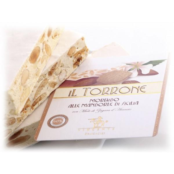 Vincente Delicacies - Torrone Morbido alla Mandorla Sicilia - Opal Fiocco - 400 g