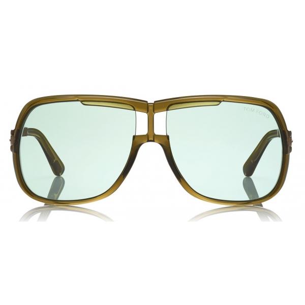 Tom Ford Caine Sunglasses Navigator Acetate Sunglasses Brown Green Ft0800 Sunglasses Tom Ford Eyewear Avvenice