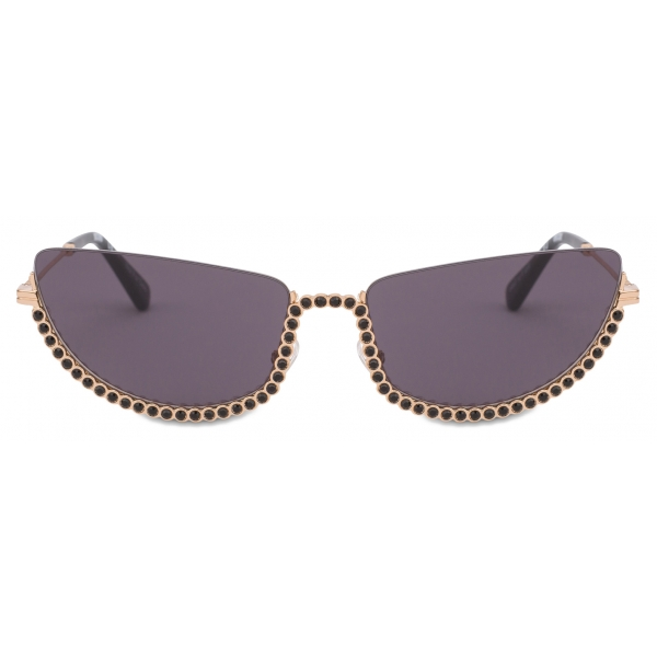 Moschino - Half-Cat Eye Sunglasses with Rhinestones - Gold - Moschino Eyewear