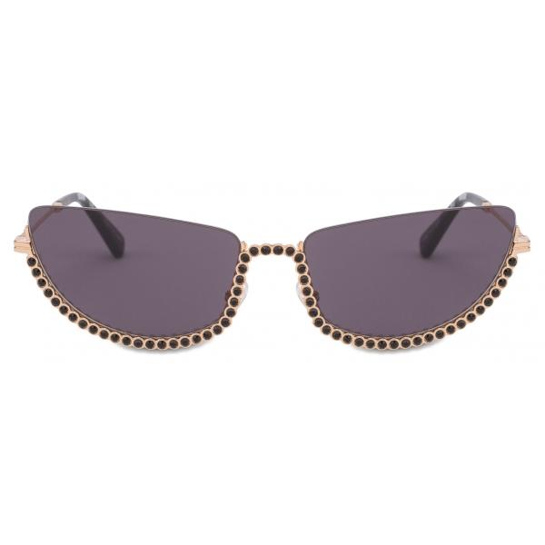 Moschino - Occhiali da Sole Half-Cat Eye con Strass - Oro - Moschino Eyewear