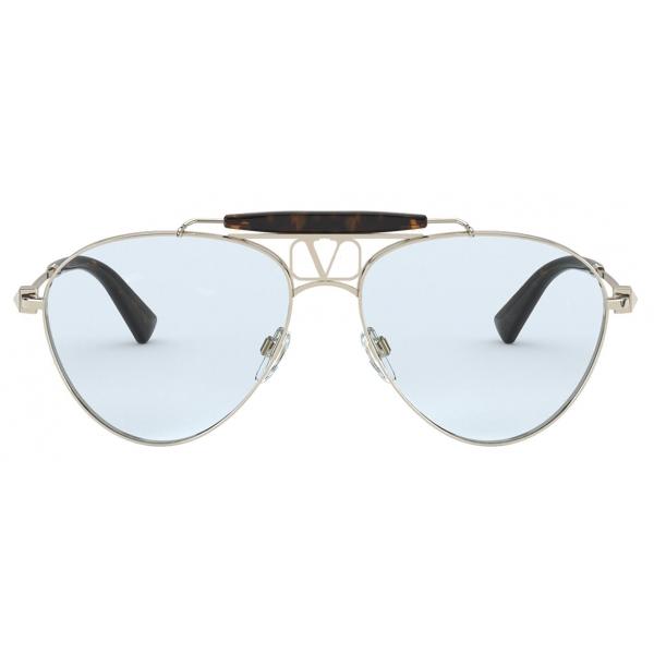 Valentino - VLOGO Pilot Metal Frame Glasses - Gold - Valentino Eyewear