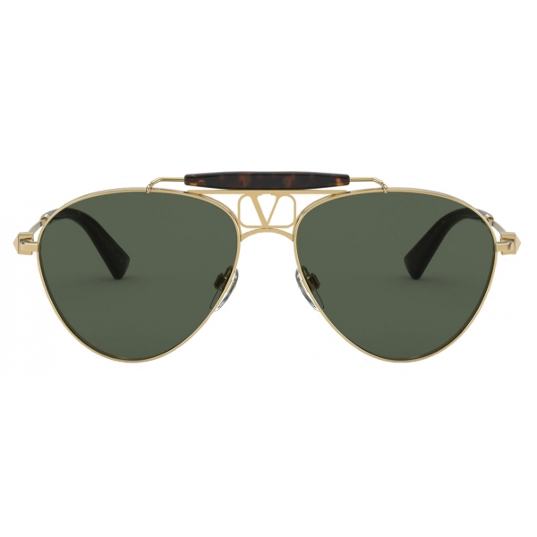 Valentino - Occhiale Pilot in Metallo VLOGO - Oro Nero - Valentino Eyewear