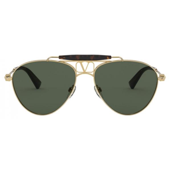 Valentino - VLOGO Pilot Metal Frame Glasses - Gold Black - Valentino Eyewear