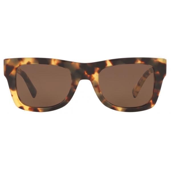 Valentino - Occhiale da Sole Squadrato in Acetato VLTN - Beige Sella Marrone - Valentino Eyewear