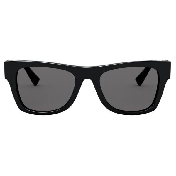 Valentino - Occhiale da Sole Rettangolare in Acetato VLOGO - Nero - Valentino Eyewear