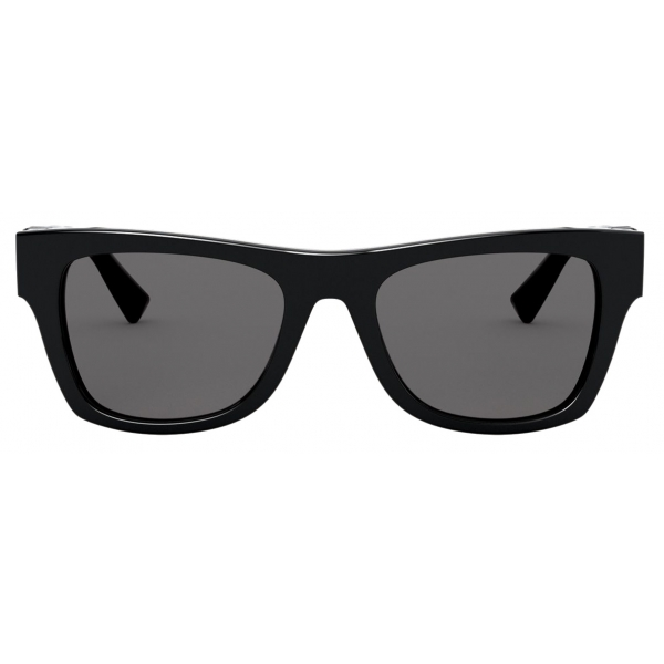 Valentino - Rectangular Frame Acetate Sunglasses VLOGO - Black - Valentino Eyewear