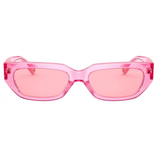 Valentino - Square Frame Acetate Sunglasses VLOGO - Pink - Valentino Eyewear