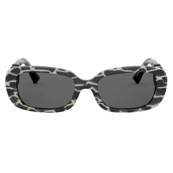Valentino - Oval Frame Acetate Sunglasses VLOGO - Grey - Valentino Eyewear