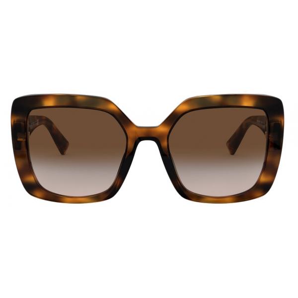 Valentino - Occhiale da Sole Squadrato in Acetato VLOGO - Marrone - Valentino Eyewear