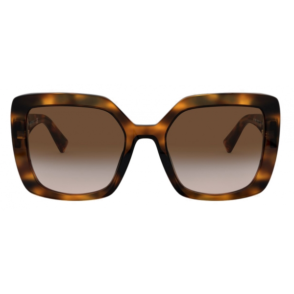 Valentino - Square Frame Acetate Sunglasses VLOGO - Brown - Valentino Eyewear