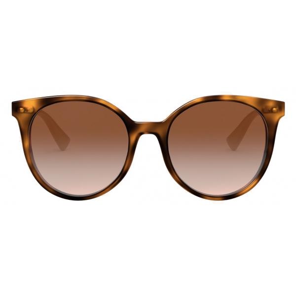 Valentino - Occhiale da Sole Rotondo in Acetato con Stud Funczionale - Marrone - Valentino Eyewear