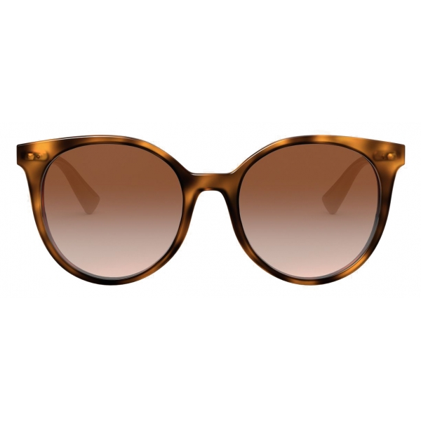 Valentino - Round Acetate Frame with Functional Stud - Brown - Valentino Eyewear