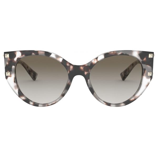 Valentino - Cat-Eye Acetate Frame with Studs - Brown - Valentino Eyewear