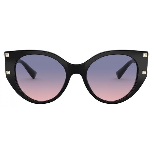 Valentino - Occhiale da Sole Cat-Eye in Acetato con Stud - Nero - Valentino Eyewear