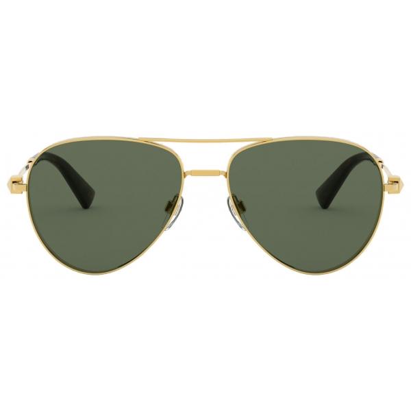Valentino - Occhiale da Sole Pilot in Metallo con Stud Funczionale - Oro Scuro - Valentino Eyewear