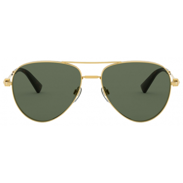 Valentino - Pilot Metal Frame Suglasses with Functional Stud - Dark Gold - Valentino Eyewear