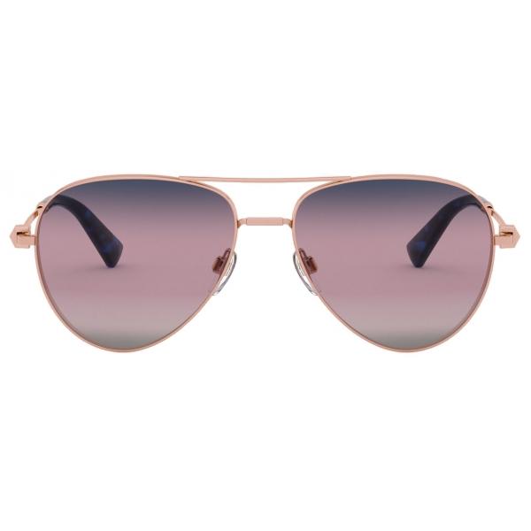 Valentino - Occhiale da Sole Pilot in Metallo con Stud Funczionale - Rosa - Valentino Eyewear