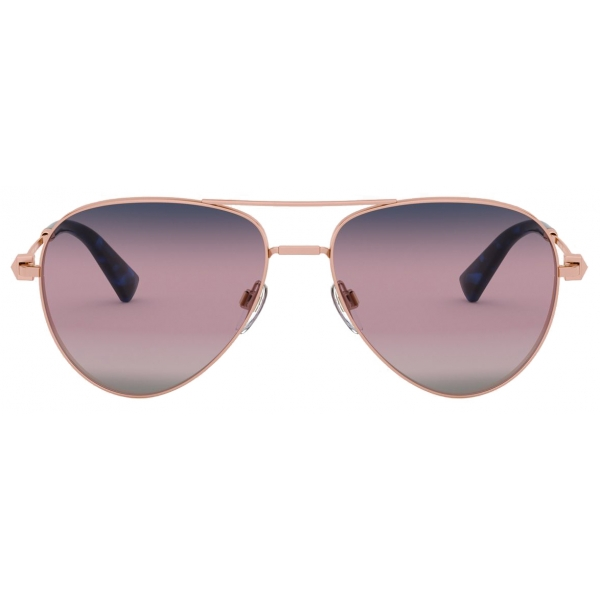 Valentino - Pilot Metal Frame Sunglasses with Functional Stud - Pink - Valentino Eyewear