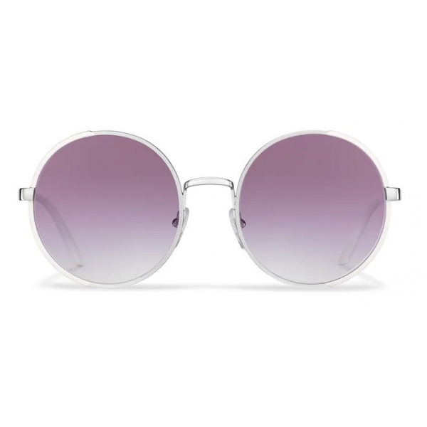 Prada - Prada Eyewear - Round Sunglasses - Opaque Chalk White Steel Gray - Prada Collection - Sunglasses - Prada Eyewear