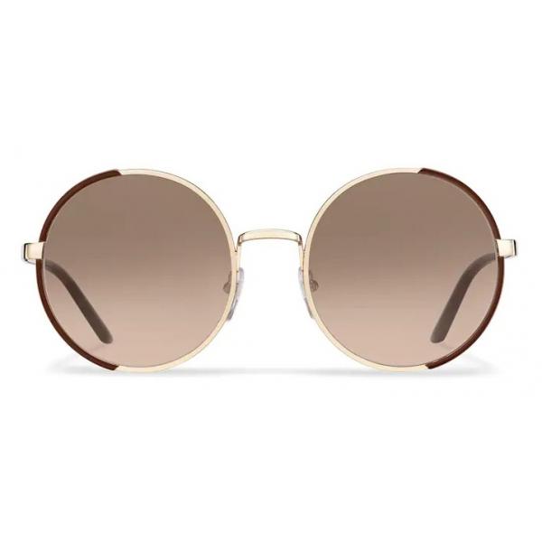 Prada - Prada Eyewear - Round Sunglasses - Cocoa Brown Pale Gold - Prada Collection - Sunglasses - Prada Eyewear