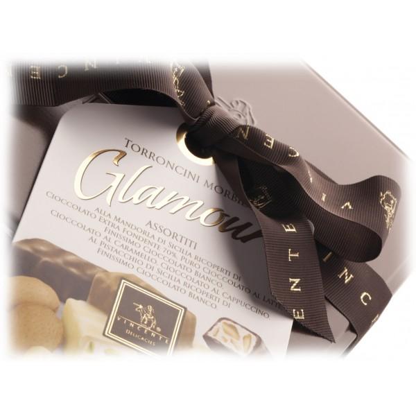 Vincente Delicacies - Torroncini Assortiti Ricoperti di Cioccolato - Glamour - Cofanetto Metallico