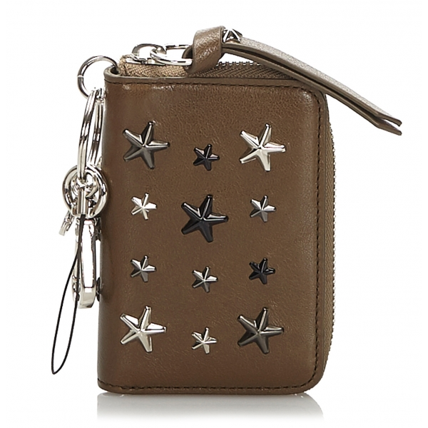 Jimmy Choo Vintage - Embellished Leather Wallet - Marrone - Portafoglio in Pelle e Vitello - Alta Qualità Luxury