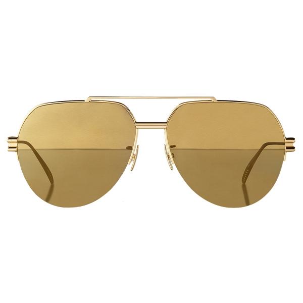 Bottega Veneta - Occhiali da Sole Aviatore in Metallo - Oro - Occhiali da Sole - Bottega Veneta Eyewear