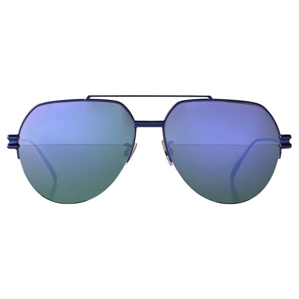 Bottega Veneta - Occhiali da Sole Aviatore in Metallo - Blu - Occhiali da Sole - Bottega Veneta Eyewear