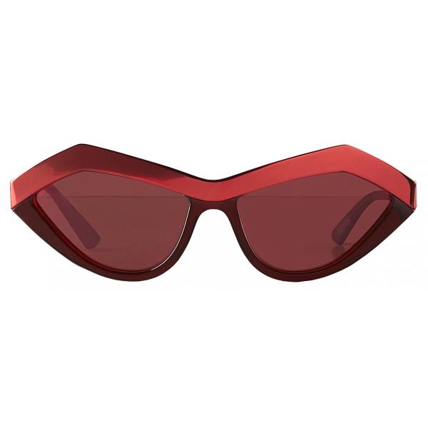 Bottega Veneta - Occhiali da Sole Geometrici Cat-Eye - Rosso Scuro Amarant - Occhiali da Sole - Bottega Veneta Eyewear