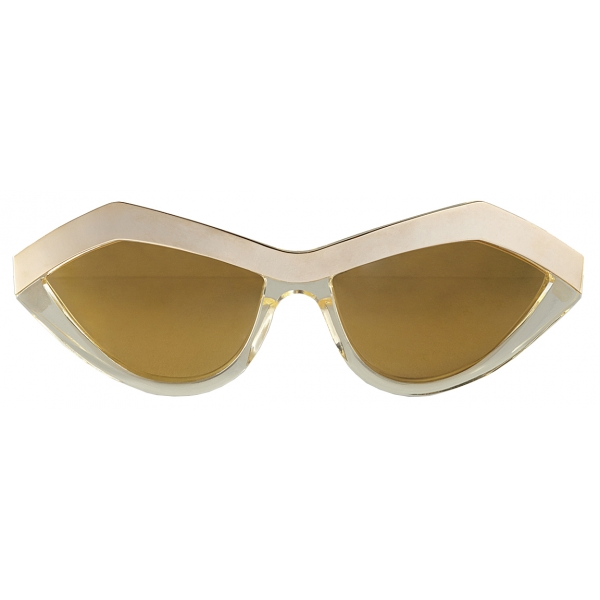 Bottega Veneta - Angular Cat-Eye Sunglasses - Champagne Gold - Sunglasses - Bottega Veneta Eyewear