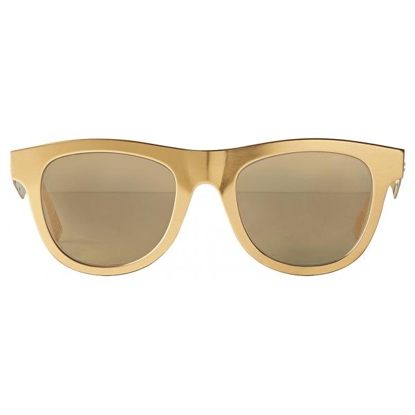 Bottega Veneta - Occhiali da Sole Classici D-Frame in Alluminio - Oro Marrone - Occhiali da Sole - Bottega Veneta Eyewear