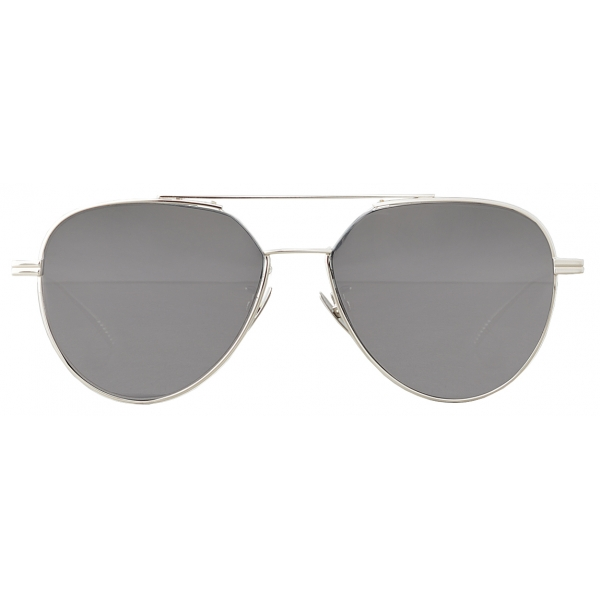 Bottega Veneta - Metal Aviator Sunglasses - Shiny Silver - Sunglasses - Bottega Veneta Eyewear