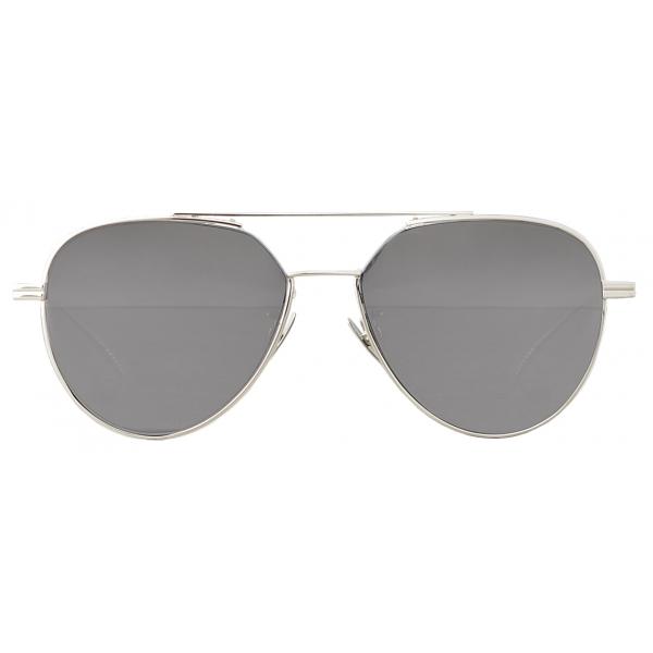 Bottega Veneta - Occhiali da Sole Aviatore in Metallo - Argento Brillante - Occhiali da Sole - Bottega Veneta Eyewear