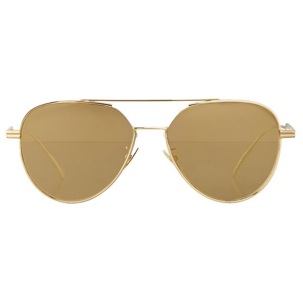Bottega Veneta - Occhiali da Sole Aviatore in Metallo - Oro Brillante - Occhiali da Sole - Bottega Veneta Eyewear