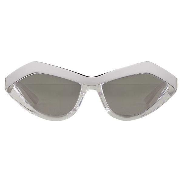 Bottega Veneta - Occhiali da Sole Geometrici Cat-Eye - Argento Cristallo - Occhiali da Sole - Bottega Veneta Eyewear