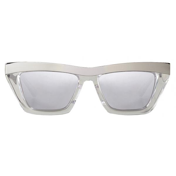 Bottega Veneta - Occhiali da Sole D-Frame - Argento Bianco - Occhiali da Sole - Bottega Veneta Eyewear