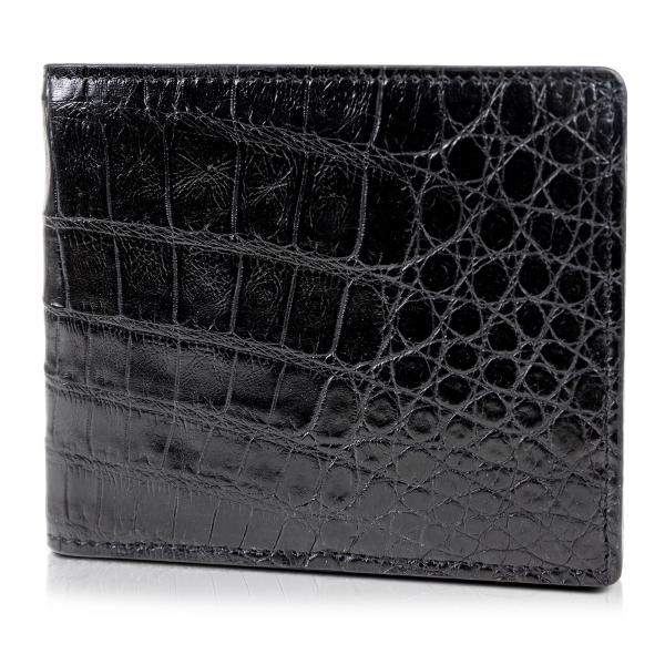 Gian Ferrente - Est. 1982 - Classic Bi-Fold Leather Wallet in Crocodile Belly - Black - Luxury High Quality