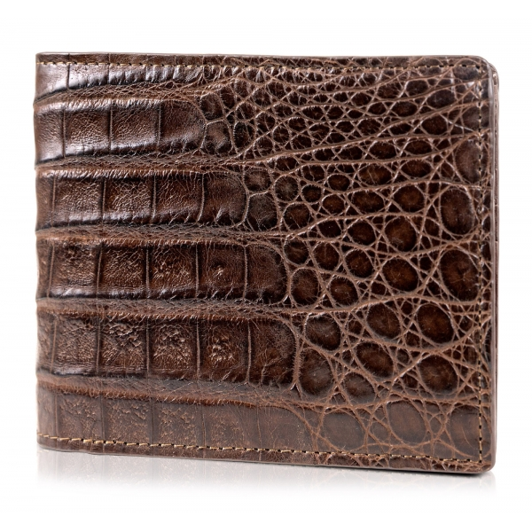 Gian Ferrente - Est. 1982 - Classic Bi-Fold Leather Wallet in Crocodile Belly - Brown - Luxury High Quality