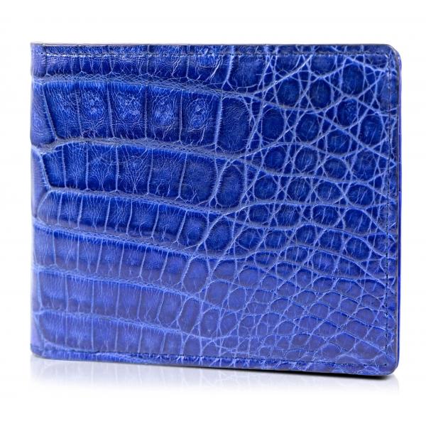 Gian Ferrente - Est. 1982 - Portafoglio Classico in Pelle a Doppia Piega in Coccodrillo Belly - Blu Navy - Qualità Luxury