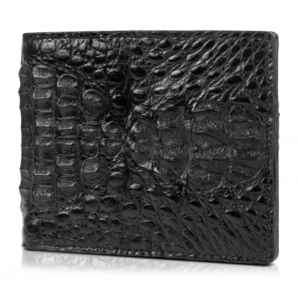 Gian Ferrente - Est. 1982 - Classic Bi-Fold Leather Wallet in Caiman Hornback - Black - Luxury High Quality