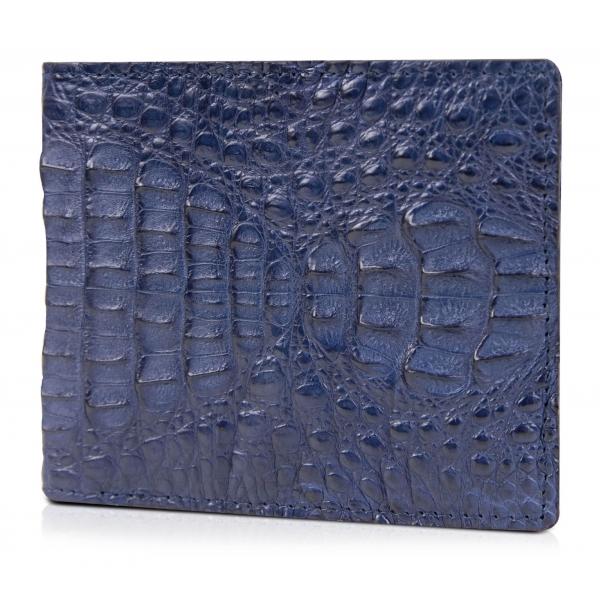 Gian Ferrente - Est. 1982 - Classic Bi-Fold Leather Wallet in Caiman Hornback - Blue Navy - Luxury High Quality