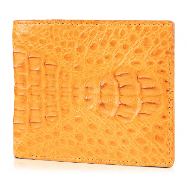 Gian Ferrente - Est. 1982 - Classic Bi-Fold Leather Wallet in Caiman Hornback - Yellow - Luxury High Quality
