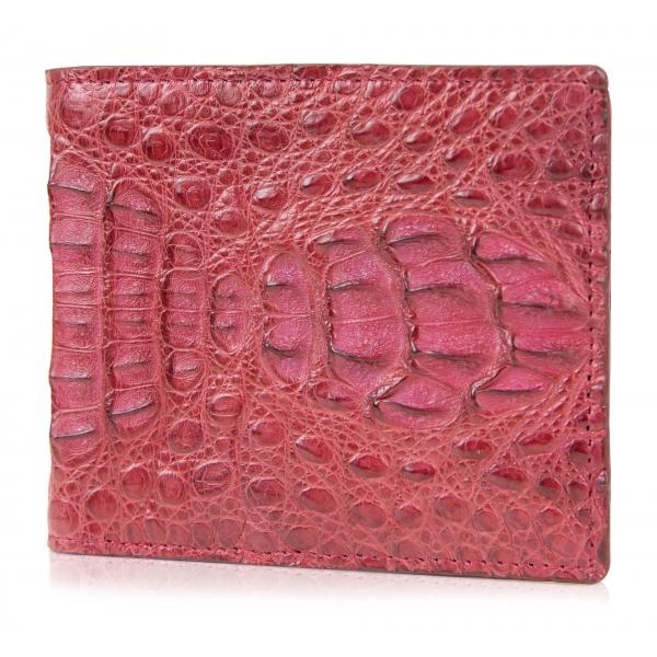 Gian Ferrente - Est. 1982 - Classic Bi-Fold Leather Wallet in Caiman Hornback - Red - Luxury High Quality
