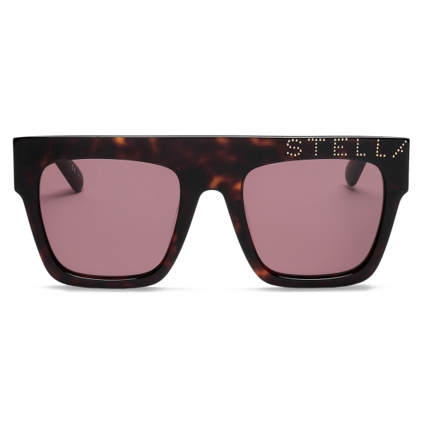 Stella McCartney - Havana Square Sunglasses with Logo - Havana - Sunglasses - Stella McCartney Eyewear