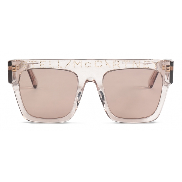 Stella McCartney - Havana Square Sunglasses with Logo - Beige Icy - Sunglasses - Stella McCartney Eyewear