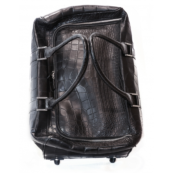 Vittorio Martire - Trolley in Real Alligator Leather - Italian Handmade Trolley - Luxury High Quality Leather