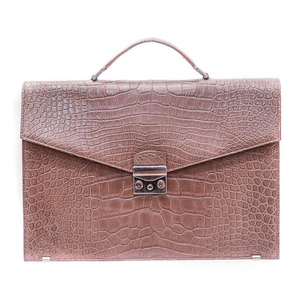 Vittorio Martire - Business Bag in Real Alligator Leather - Taupe - Italian Handmade Bag - Luxury High Quality Leather