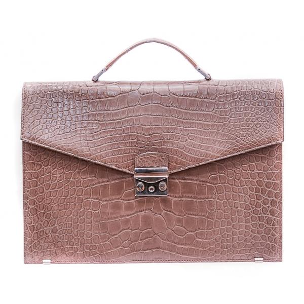 Vittorio Martire - Business Bag in Vera Pelle di Alligatore - Taupe - Borsa Artigianale Italiana - Pelle di Alta Qualità Luxury