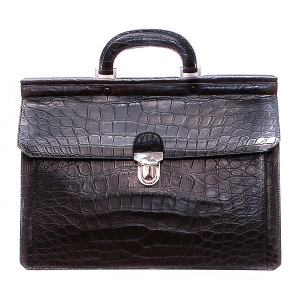 Vittorio Martire - Business Bag in Vera Pelle di Alligatore - Nero - Borsa Artigianale Italiana - Pelle di Alta Qualità Luxury
