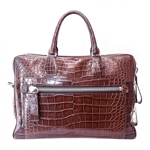 Vittorio Martire - Business Bag in Vera Pelle di Alligatore - Marrone Lucido - Borsa Artigianale Italiana - Alta Qualità Luxury